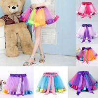 Children Kids Colorful Tutu Skirt Girl Rainbow Tutu Bowknot Mini A-Line Dress