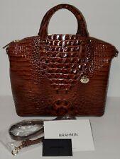 NWT Brahmin Melbourne Croco Leather Duxbury Satchel Bag Purse Pecan