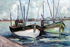"""Coillet R. Tableau (huile sur toile) - """" Port de pêche breton """""""