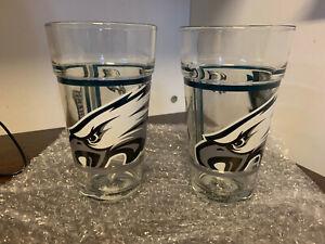 (2) NEW Philadelphia Eagles Pint Glasses drinking glass official NFL licensed