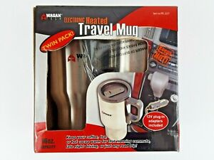 NEW- Set of 2 Silver 16 Oz Heated Travel Mugs Keeps Coffee & Beverages Hot