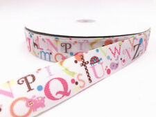 5-10 Yard 1''25MM 26 letters Printed Grosgrain Ribbon Hair Bow Sewing Ribbon