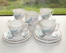 Roslyn Fine Bone China Blue Fern Pink Bells 4 x Cups Saucers Plates 1 x Milk Jug
