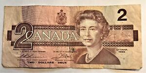 1986 Canada $2 Two Deux Dollar Bill Lightly Circulated VG