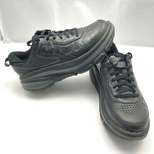 Hoka One One Bondi LTR Leather Running Athletic Shoes Black Womens Size 6 Wide