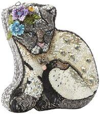 Mary Frances Handbag Cool Cat Beaded Jeweled Kitty Cat Grey Purse Shoulder Bag