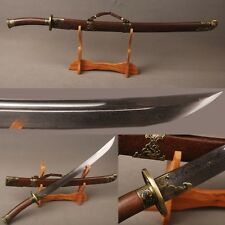 Handmade Chinese Qing Dynasty DAO damascus steel sword Rosewood nice decoration