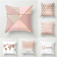Rose Gold Throw Pillow Case Pink Geometric Sofa Waist Cushion Cover Bed Decor