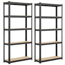 2 Pcs Storage Shelves Steel Garage Home Organizer Metal Heavy Duty Shelving Unit