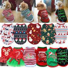 Dog Christmas T-shirt Puppy O Neck Short Sleeve Vest Winter Warm Pet Clothes Tee