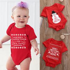 Nouveau Né Bébé Fille Garçon Barboteuse Bonhommes De Neige Merry Christmas Body