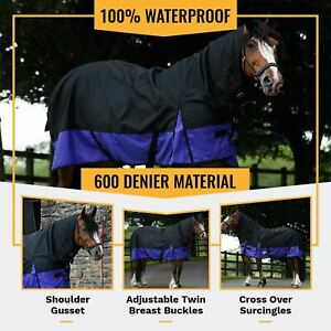 50G Fill Winter Turnout Horse Rugs 600D Outdoor COMBO Full Neck Black/Purple