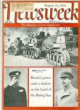 NEWSWEEK  STALIN RUSSIA JAPAN HIROHITO   CHINA WAR AUGUST 15  1938