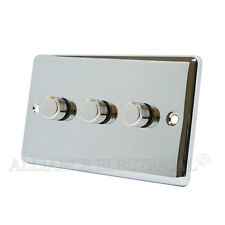 Polished Mirror Chrome Classical Dimmer 400W 3 Gang - CPC3GDIM40