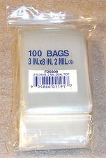 "3""X8"" 2 MIL Poly Clear Ziploc Zipper Ziplock Bags - 100 ea"