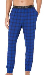 NWT Calvin Klein Men's Ultra Soft Modal Joggers. Sz Large & Blue Plaid.