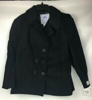 US Navy USN DSCP Quarterdeck Collection Pea Coat Peacoat Black Wool Women's 18S