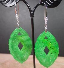 925 Sterling Silver Jade Earring Earrings Dangle Lotus Flower Teardrop 282843
