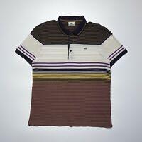 Lacoste Men's Multicoloured Short Sleeve Striped Pique Cotton Polo Shirt Size M