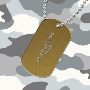 Gold Aluminium - Personalised / Engraved-Army-Military-Dog-ID / Tag & Chain