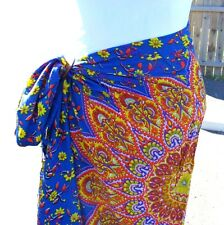 Paisley Floral  Print Sarong Pareo Scarf Wrap Full Size Rayon Beach Cover up