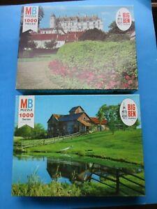 2 Vintage Milton Bradley Big Ben Puzzles Vermont View & French Chateau 1000 Pcs