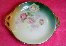 """Steinmann Tiefenort Silesia (Pink Roses) 9"""" HANDLED PLATE Hand Painted & Signed"""