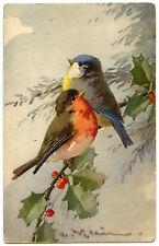 C. KLEIN. DEUX OISEAUX SUR UNE BRANCHE. TWO BIRDS ON A BRANCH
