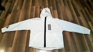 Adidas Full Zip Women's size Medium hooded windbreaker white jacket