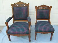 PAIR VICTORIAN WALNUT PARLOR UPHOLSTERED CHAIRS C.1850 EXCELLENT CONDITION #1162