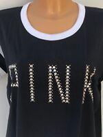 Victoria's Secret VS PINK Beaded Large Logo Black Long Line Tee Size M BNIB