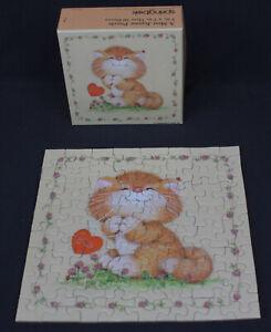 Vtg Springbok Mini Jigsaw Puzzle Hallmark Cards Kitty Cat Love 70+ Pcs Complete