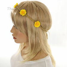 CAROLE Inc.YELLOW FLOWERS HEADBAND Braided Faux Suede BEIGE HAIR BAND Wood Beads