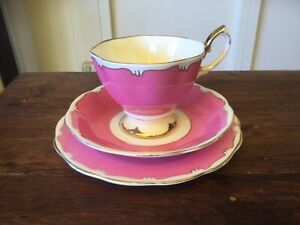 Vintage Royal Albert Harlequin Pink Trio. Cup, Saucer and Plate