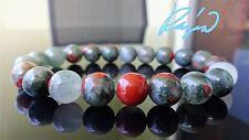 "Genuine African Bloodstone Bead Bracelet for Men (Stretch) 10mm AAA - 8.25"" inch"
