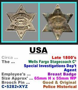 Repro' Breast Star • USA • Wells Fargo Agent • Late 1800's • C•5282•