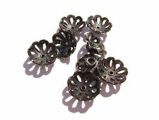 1088BB Bead Cap, Gunmetal ptd Copper, 11mm for 10 to 12mm bead, Flower, 20 Qty