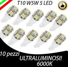 LOTTO 10 PEZZI T10 5 LED W5W LUCE ULTRABIANCA HYPERLED ULTRALUMINOSI!