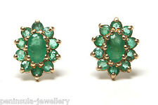 9ct Gold Emerald Cluster Oval stud earrings Gift Boxed Made in UK