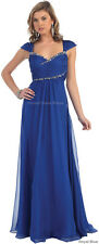 NEW FORMAL EVENING GOWN FLOWY CAP SLEEVE MOTHER OF THE BRIDE DRESSES & PLUS SIZE