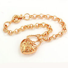 New Womens Wrist 14K Real Gold Filled Heart Hollow Chain Link Bracelet
