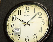 "SEIKO 16"" SPLASH RESISTANT OUTDOOR WALL CLOCK QXA548BLH"