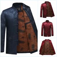 Men's Chinese style Retro Printed Dragon Brushed Lined Cotton Shirts Jacket Coat