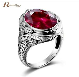 Genuine Unique Austrian 925 Sterling Silver Ring with Ruby Stones for Men...