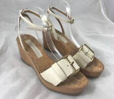 Stella McCartney Wood Wedge Sandals Off White Faux Leather Size 38
