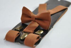 Tan Brown Cotton Bow tie bowtie + matched Elasitc Suspenders Braces