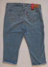 Levi's Capri Jeans Women's Cropped Cuffed Blue Denim Size 36x21