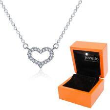 Herz Halskette Kette Zirkonia Anhänger aus 925 Sterlingsilber Silber + LED Box