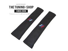 2x 30cm Long Seat Belt Covers Pads Black Leather M3 /// Embroidery for Bmw