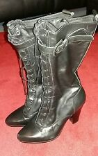 Pied a Terre leather lace up heeled black boots 41 eur  uk 7.5 worn twice